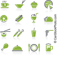 Food Icons - 2 of 2 - Natura Series - Green vector icon set...