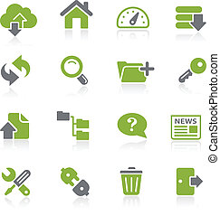 Hosting Icons -- Natura Series - Green vector icon set for...