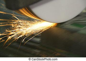 Sparks from Grinder on Die - Grinder resurfacing a die tool...