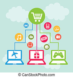 ecommerce design over sky background vector illustration