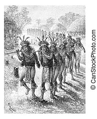 Native Music and Dance in Oiapoque, Brazil, vintage engraving