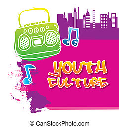 youth culture over white background vector illustration