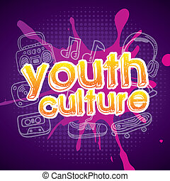 youth culture over purple background vector illustration