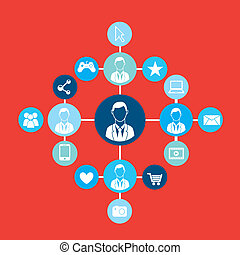 Connectivity people over red background  vector illustration