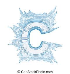 glace, cristal, Police, lettre, c, supérieur, cas,...