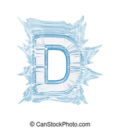 Ice crystal font. Letter D.Upper case.With clipping path -...
