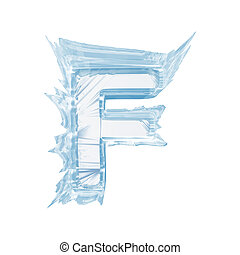 Ice crystal font. Letter F.Upper case.With clipping path -...