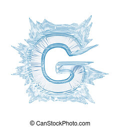 Ice crystal font. Letter G.Upper case.With clipping path -...
