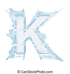 Ice crystal font. Letter K.Upper case.With clipping path -...