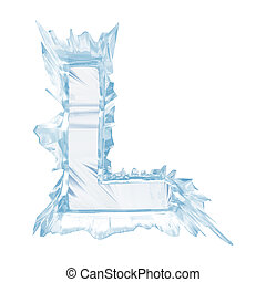 Ice crystal font Letter LUpper caseWith clipping path -...