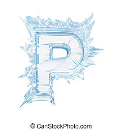 Ice crystal font. Letter P.Upper case.With clipping path -...