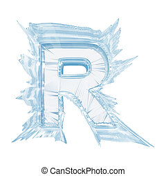 Ice crystal font. Letter R.Upper case.With clipping path -...
