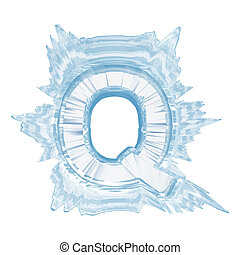 Ice crystal font. Letter Q.Upper case.With clipping path -...