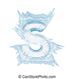 Ice crystal font. Letter S.Upper case.With clipping path -...