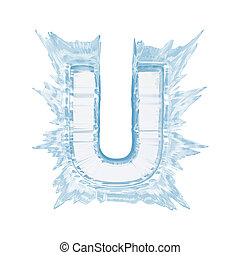 Ice crystal font. Letter U.Upper case.With clipping path -...