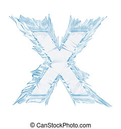 Ice crystal font. Letter X.Upper case.With clipping path -...