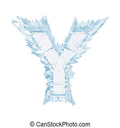 Ice crystal font. Letter Y.Upper case.With clipping path -...