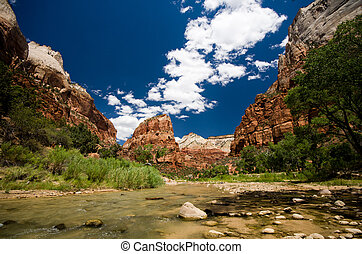 Zion canyon at Zion National Park in Utah - Zion canyon at...