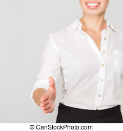 Business woman offer handshake - Happy smiling business...