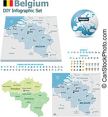 Belgium maps with markers
