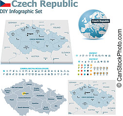 Czech Republic maps with markers - Set of the political...