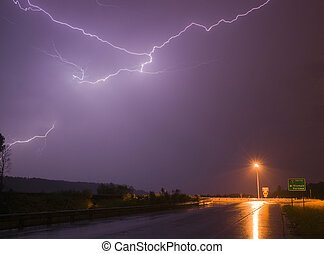 Spectacular Display Lightning Strike Eectrical Charge...