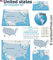 United States maps with markers - Set of the political USA...
