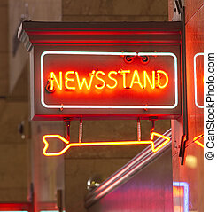 Newsstand Red Neon Sign Indoor Signage Arrow Pointing News -...