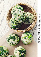 Spinach dumplings - Vegetarian food. Spinach and cheese...