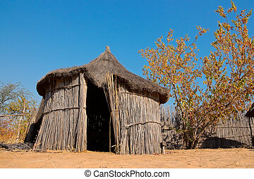 Rural African hut - Traditional rural African reed and...