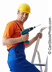 Profession - Builder with drill on stepladder