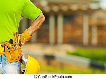 Outils, ceinture, ouvrier, fin, haut