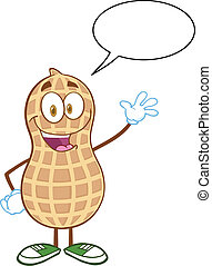 Peanut Cartoon Mascot Character - Happy Peanut Cartoon...