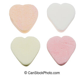 heart shaped candy sweets isolated on a white background