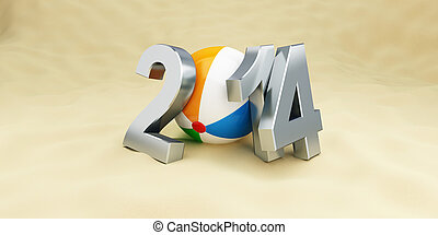 new year 2014 on the beach, beach ball. 3d Illustrations