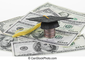 Saving for college - Mortarboard on top of a stack of...