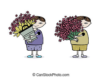 boy with flowers - boy with a huge bouquet of flowers. eps8