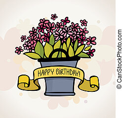 birthday card with flower - bucket with flowers on holiday...