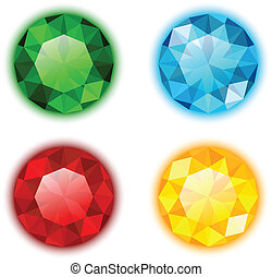 The Set of Four Colorful Gems Round Shaped