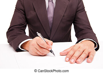 Business worker signing the contract on white - Business...