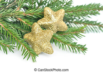 Christmas fir tree and glitter stars isolated on white...
