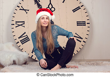 girl on clocks background lunch time