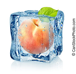 Ice cube and peach isolated on a white background