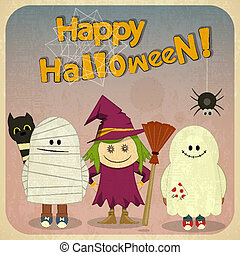 Halloween Retro Card - Retro Halloween Card with witch,...