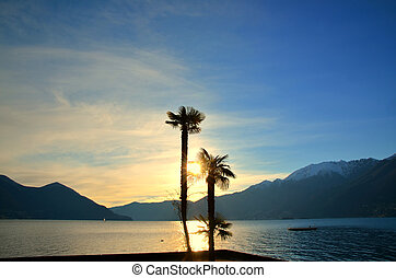 Sunset over an alpine lake with palm trees and snow-capped...