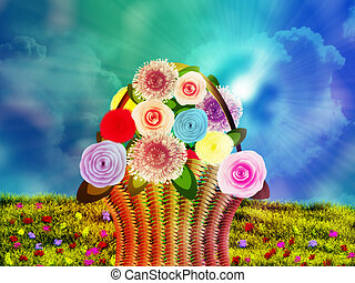 Basket of flowers on meadow - Illustration of woven basket...