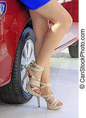 high heeled shoes of car model - closeup of photo, high...