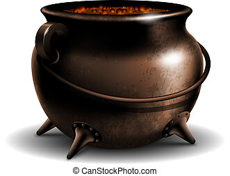 Cauldron with potion - Witches cauldron with potion isolated...