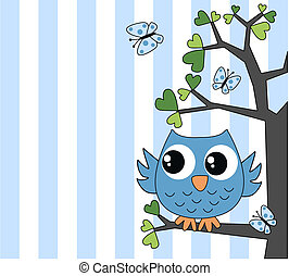 cute little blue owl - happy birthday baby shower or other...