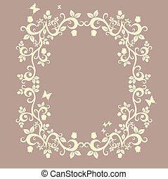 brown or fallow beautiful illustration of floral ornament...
